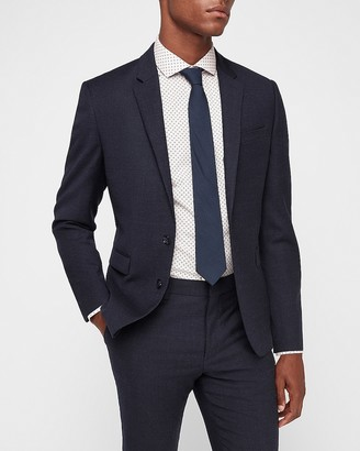 Express Extra Slim Indigo Blue Flannel Wool Blend Suit Jacket