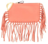 Valentino C-rockee Scarab Fringed Leather Clutch