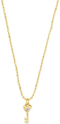 Sterling Forever 14K Yellow Gold Plated CZ Heart Key Pendant Necklace