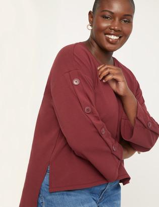 ELOQUII Button Sleeve High- Low Sweatshirt