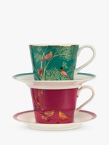 Sara Miller Chelsea Collection Cup & Saucer & Strainer, 200ml, Set of 2, Multi