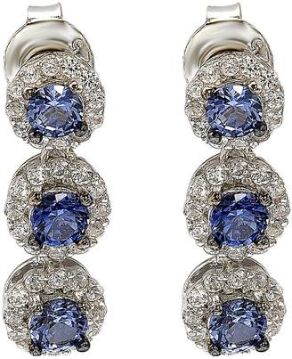 LeVian Suzy Silver 1.42 Ct. Tw. Diamond & Sapphire Halo Drop Earrings