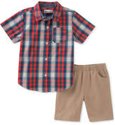 Kids Headquarters Plaid Shirt & Shorts Set, Baby Boys