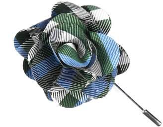 The Tie Bar Green Polo Plaid Lapel Flower Pin