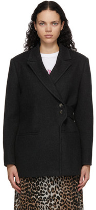 Ganni Black Wool Wrap Coat