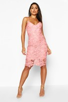 boohoo Boutique Fi Crochet Lace Strappy Midi Dress blush