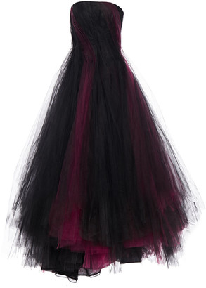 Oscar de la Renta Strapless Two-tone Tulle And Faille Gown