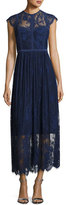 Parker Tesoro Cap-Sleeve Embroidered Midi Dress, Blue