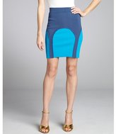 Yigal Azrouel aqua and navy stretch knit colorblocked ruffle trim skirt