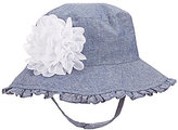 Starting Out Baby Girls Ruffled Chambray Flower Bucket Hat