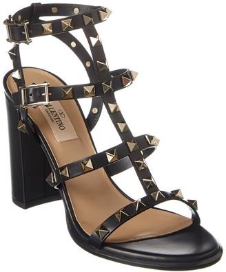 Valentino Rockstud Caged 90 Leather Ankle Strap Sandal