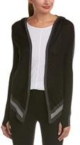 Blanc Noir Hooded Silk-blend Wrap Cardigan.