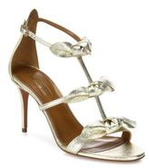 Aquazzura St. Tropez Tied Metallic Leather Sandals