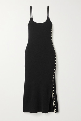 Proenza Schouler White Label Button-detailed Ribbed-knit Midi Dress - Black