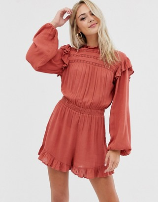 ASOS DESIGN playsuit with lace inserts and shirring