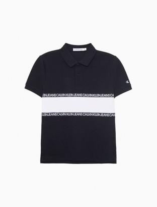 Calvin Klein Color Block Logo Tape Pique Polo Shirt