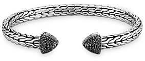 John Hardy Sterling Silver Classic Chain Slim Flex Cuff with Black Sapphire & Black Spinel