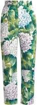 Dolce & Gabbana Hydrangea-print slim-leg cropped trousers