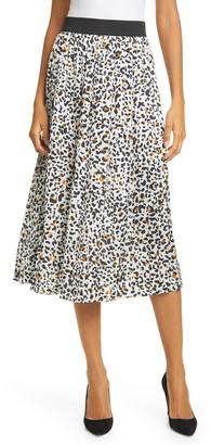 Helene Berman Cheetah Print Pleated Skirt