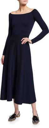 Gabriela Hearst Gurshka Boat-Neck Wool Midi Dress