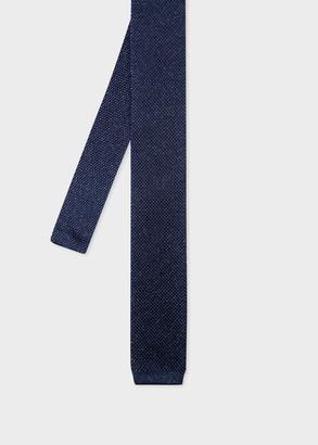 Men's Dark Navy Silk-Blend Knitted Glitter Tie