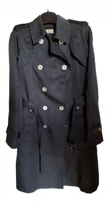 Aigner Black Polyester Trench coats