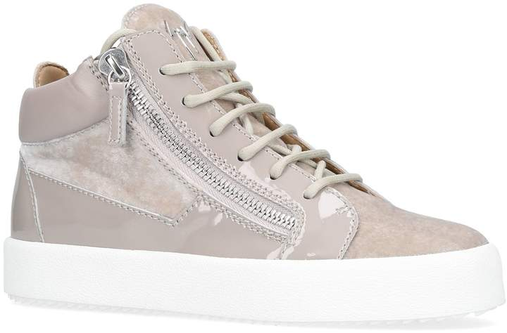 Giuseppe Zanotti Mid-Top Velvet Sneakers