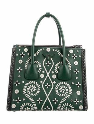 Prada Saffiano Embroidered Twin Pocket Tote Green