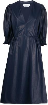 MSGM Faux-Leather Midi Dress