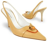 Borgo degli Ulivi Front Bow Camel Leather Slingback Pump Shoes