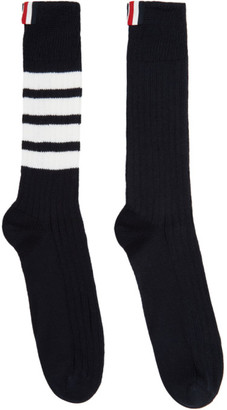 Thom Browne Navy Chunky Rib 4-Bar Mid-Calf Socks
