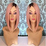 EO Short bob straight hair lace front wig ombre 1b#/dark pink 12inch &26inch natural straight hair glueless lace wig (12in, #1b/dark pink)