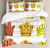 Size Duvet Cover Set by Ambesonne, Sketchy Watercolor Seemed Print Tiaras Crowns Coronet Majestic Symbols, Decorative 3 Piece Bedding Set with 2 Pillow Shams, Orange Yellow and Salmon