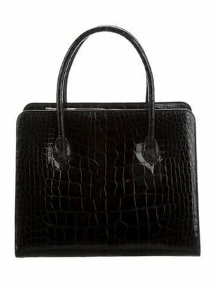 Bergdorf Goodman Alligator Handle Bag Black
