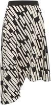Topshop Striped Asymmetric Midi Skirt
