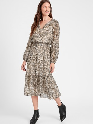 Banana Republic Tie-Neck Midi Dress