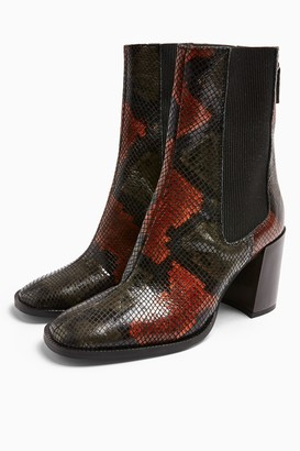 Topshop HUNTINGTON Leather Snake Boots