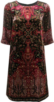 Etro Paisley-Print Crew Neck Dress