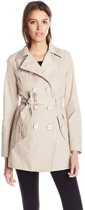 Jessica Simpson Women's Double-Breasted Raincoat