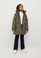 Thumbnail for your product : MANGO Faux fur hooded coat removable