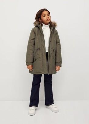 MANGO Faux fur hooded coat removable