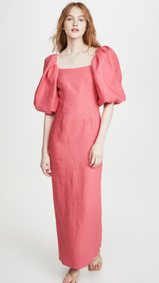 Rebecca De Ravenel Balloon Sleeve Ankle Length Dress