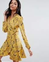 Liquorish Swallow Print Wrap Front Long Sleeve Dress