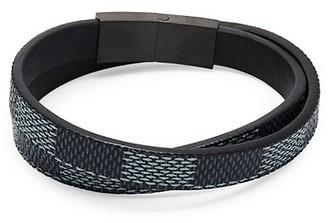 Jean Claude Check Double Wrap Leather Bracelet
