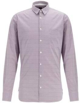 BOSS Slim-fit shirt in geometric-print stretch cotton