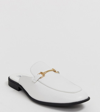 ASOS DESIGN Wide Fit backless mule loafer in white faux leather