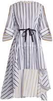 Palmer Harding PALMER/HARDING Adjustable-sleeve step-hem striped cotton shirt