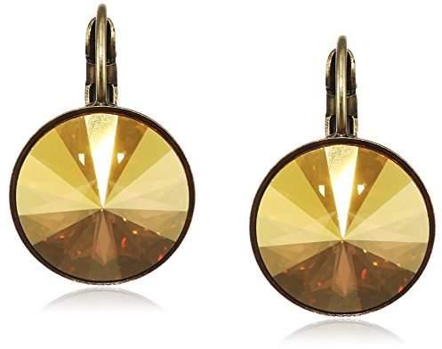 Konplott Women's Earrings Rivoli Brass Glass Yellow – 5450543316666