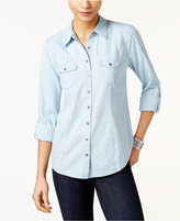 Style&Co. Style & Co Printed Utility Shirt, Only at Macy's