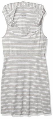 Andrew Marc Women's Hooded Thick Thin Stripe Dress W/Shelf Bra